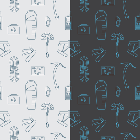 Line seamless pattern with mountaineering theme