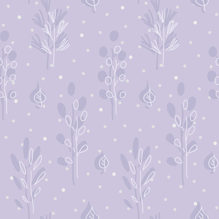 Seamless hand drawn pattern with branches and leafs amid snowfall