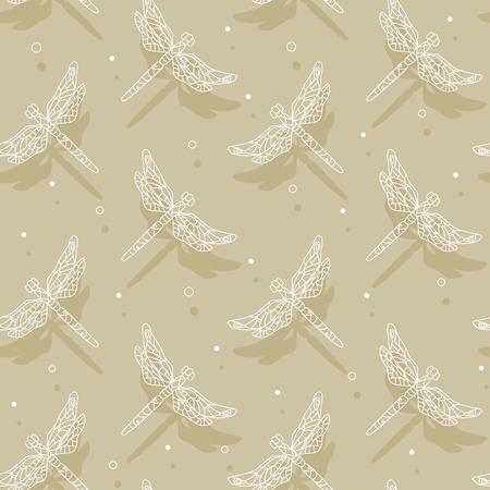 Soaring dragonfly cast shadows. Seamless pattern. Vector illustration