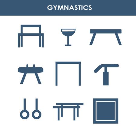 Line icon set with artistic gymnastics equipment