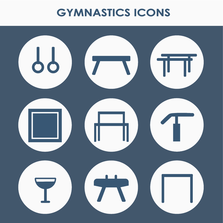 Line icon set with artistic gymnastics equipment