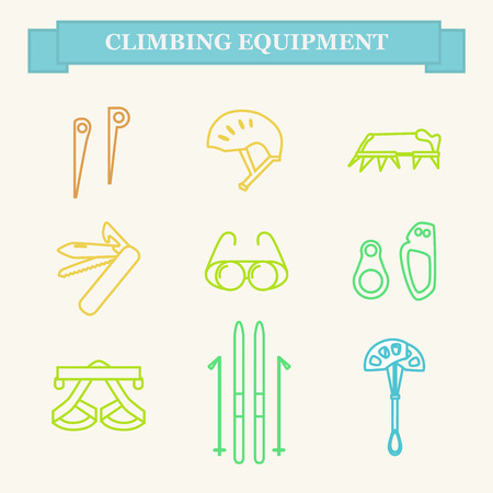 Set line icons of mountaineering equipments. Collection vector icons for climbing, trekking, hiking, tourism, expedition, extreme, camping, outdoor recreation and vacation in mountains.