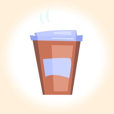 Vector illustration cartoon disposable coffee cup