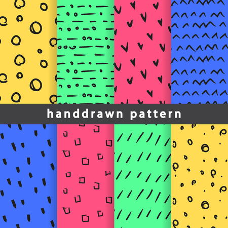 Collection of abstract hand-drawn seamless patterns. Use in various types of design and décor. Ilustração