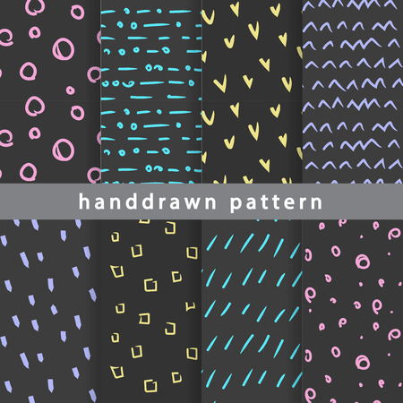 Collection of abstract hand-drawn seamless patterns. Use in various types of design and décor.