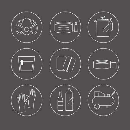 Collection of liner icons represent painter equipments: solvent, polish, compressor, gloves, coating, scotch tape, mix, paint mask, paint. Symbols isolated on circle