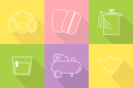 Collection of liner icons represent painter equipments. Symbols isolated on colorful background. Flat design vector Ilustração
