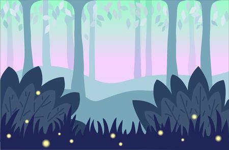 Nature background, cartoon landscape illustration Ilustração