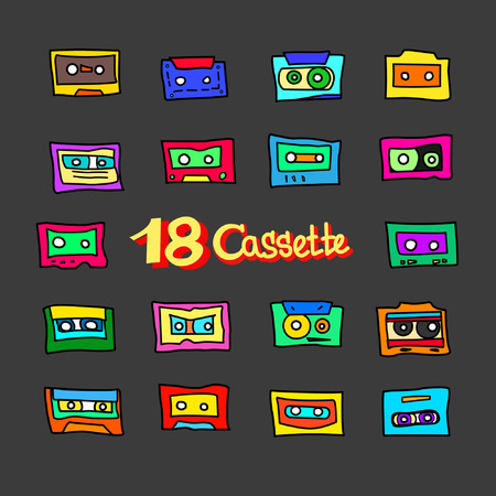 Collection of cartoon audio cassettes from the 1980s, 1990s. Great for typography, textiles, interior design. Vector illustration