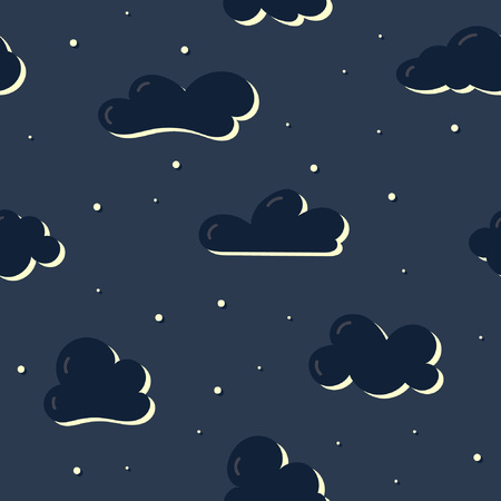 Seamless pattern with cartoon clouds. Great for prints, textiles, covers, gift wrappers, backdrops Ilustração