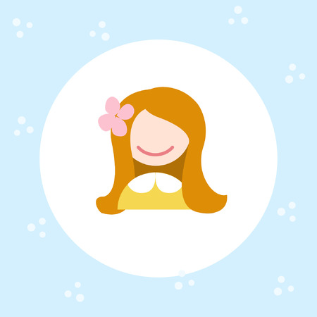 Girl face icon. Bright cartoon avatar for the Internet, sticker, stripes, typography