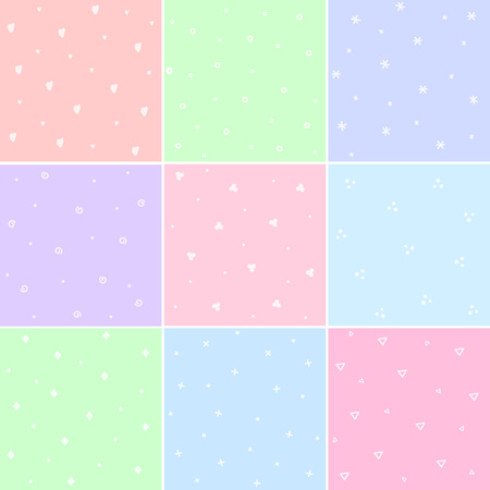 Collection of cute seamless patterns. Simple textures for backdrops, polygraphy, fabrics and various types of design