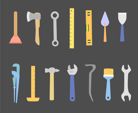 Collection of tools. Vector illustration. Professional tools for manual labor, repair and assistance in the household.