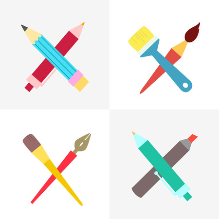 Collection of branded for art organizations: schools, studios, companies. Crossed art tools.