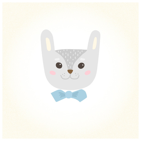Cute cartoon character of a rabbit in a bow tie. Cool picture is great for children's products: clothes, textiles, postcards, stationery products and other things. Vector illustration. Vettoriali