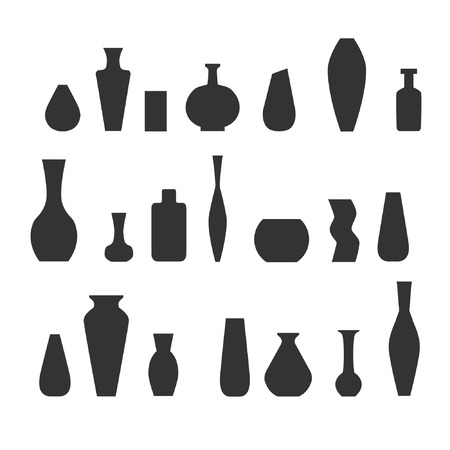 Collection of various kinds of vases. Vector illustration. Çizim