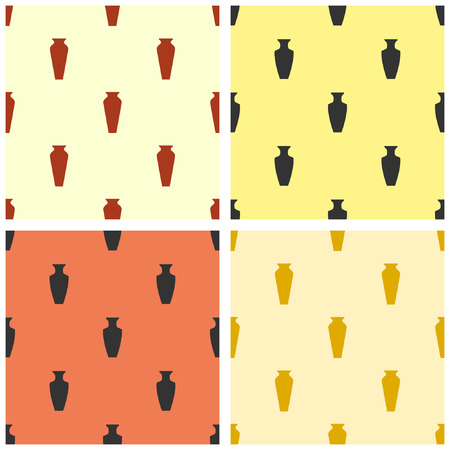 Collection of simple tranquil seamless patterns with jugs and vases. Vector illustration