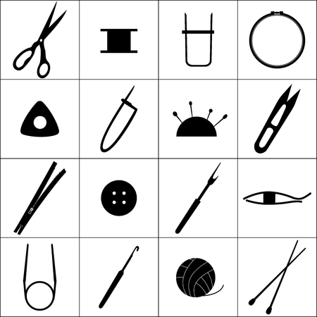 Collection of equipment icons for needlework