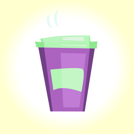 Vector illustration cartoon disposable coffee cup