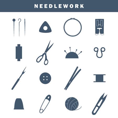 Set of equipment icons for needlework