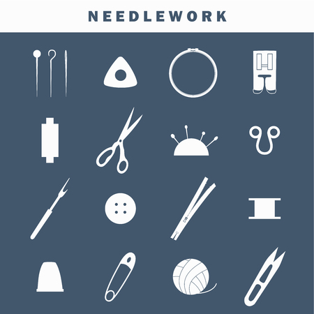 Set of equipment icons for needlework