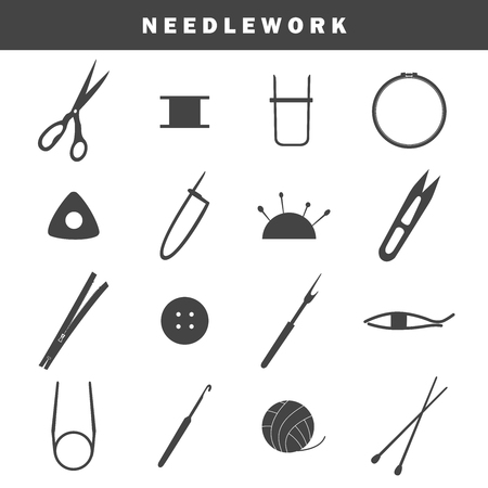 Set of equipment icons for needlework Archivio Fotografico - 114859985