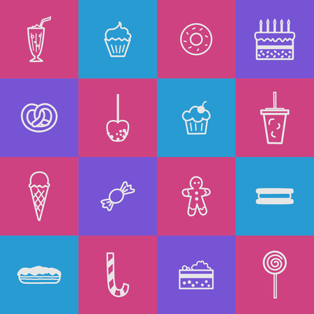 Collection of pictures depicting various confectionery products. Sweets in a linear style. Illustration