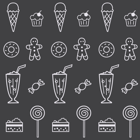 Seamless pattern with confectionery and sweets. Linear design 向量圖像