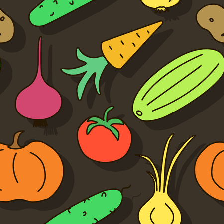 Seamless pattern with fresh vegetables from the bed