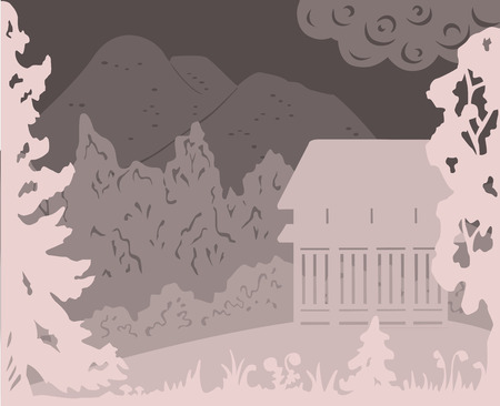Monochrome landscape of a secluded forest area. Vector illustration.