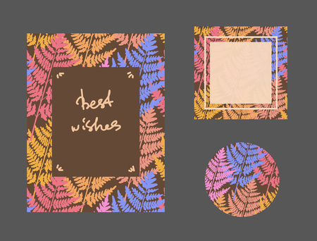 Set of background with wild ferns. Template used for different types of design. Vector illustration Векторная Иллюстрация