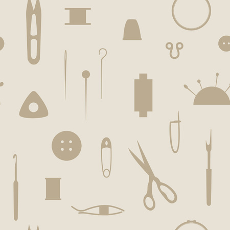 Tools  for needlework, sewing and knitting. Seamless pattern of the sewing industry. Vector illustration.
