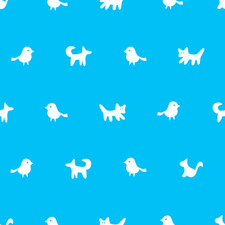 Seamless pattern. Rows of cute cartoon animals and pets. Vector illustration