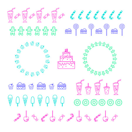 Confectionery and sweets. Collection of vector graphic borders and circle frames. Linear design Illustration
