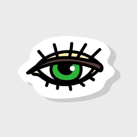 Großes schönes Auge im Cartoon-Stil. Isoliertes Bild für Abzeichen, Aufkleber oder Patch. Vektor-Illustration Vektorgrafik