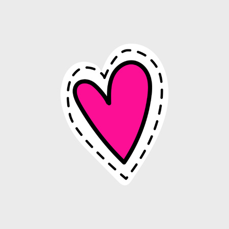 Great sympathetic and loving heart painted in cartoon style. Isolated image for badge, sticker or patch. Vector illustration