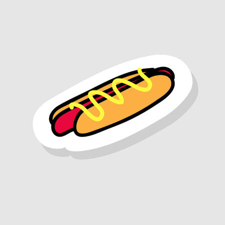 Drawing of a tasty hot dog. Isolated image for badge, sticker or patch. Vector illustration Illustration