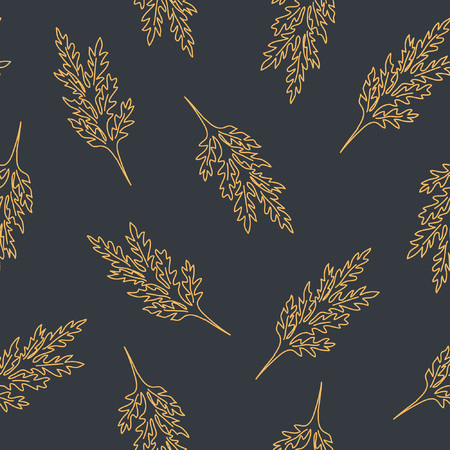 Seamless pattern with leafs and stalks. Floral background. Linear style vector illustration