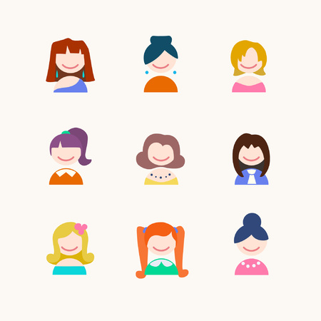Collection of  female faces avatars. Girls with different hairstyles. Vector illustration