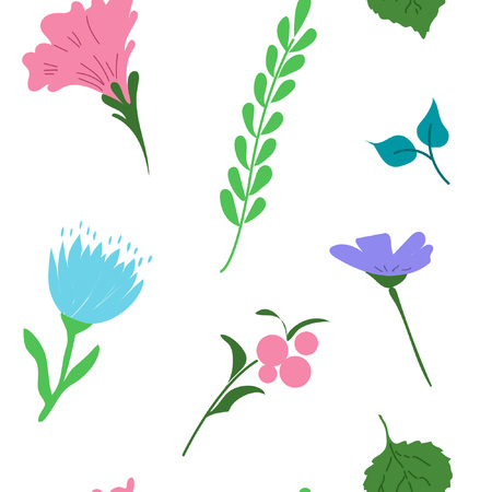Seamless pattern with bright flowers. Floral background. Vector illustration