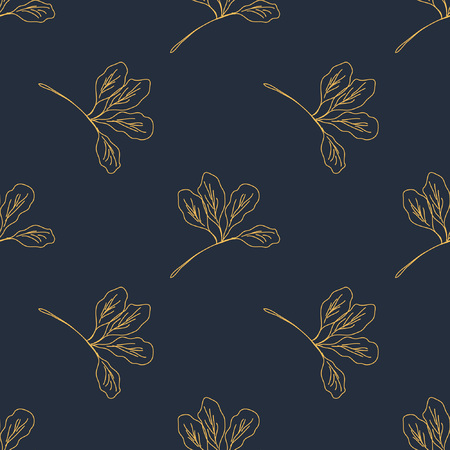 Seamless pattern with leafs and stalks. Floral background. Linear style vector illustration Ilustração