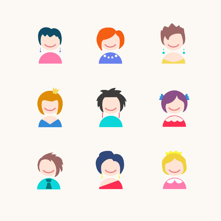 Female faces avatars. Girls with short hair. Vector illustration