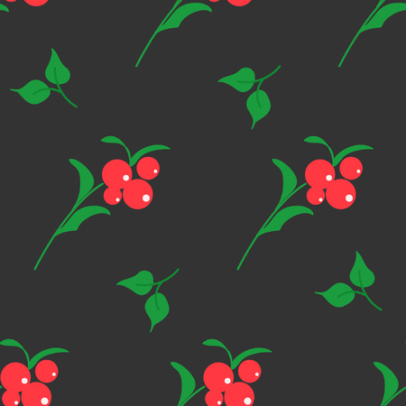 Seamless pattern with bright berries. Floral background. Vector illustration