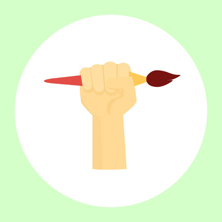 Image of an artist's hand squeezing his favorite tool. Vector illustration