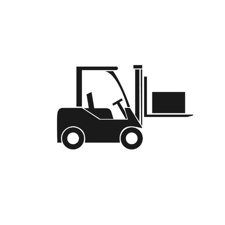 Gabelstapler-Symbol. Transport von Fracht und Kisten im Lager. Vektor-Illustration