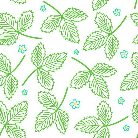 Seamless pattern with leafs and stalks. Floral background. Vector illustration
