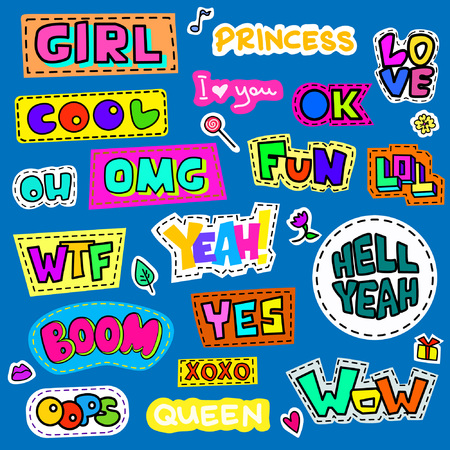 Set of colorful cartoon badges. Known abbreviations and popular words .Vector illustration use as patch, sticker, pin
