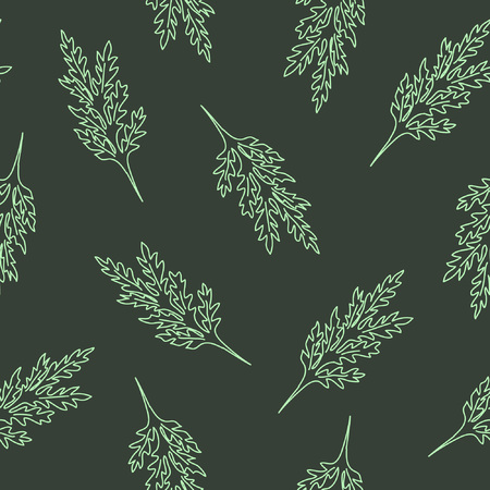 Seamless pattern with leafs and stalks. Floral background. Linear style vector illustration Иллюстрация