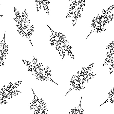 Seamless pattern with leafs and stalks. Floral background. Linear style vector illustration Illustration