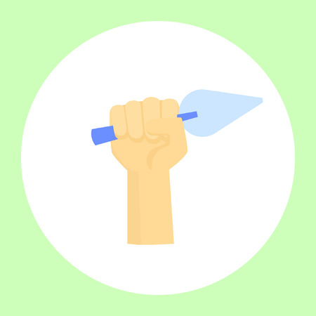 Image of a hand holding a tool for various repairs. Vector illustration Illustration